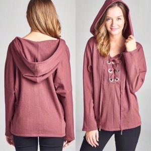 Tops - Dusty Pink Lace-Up Hoodie